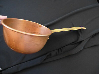 Antique Vintage Large Old Country Copper Dipper Ladle w/ Brass Handle