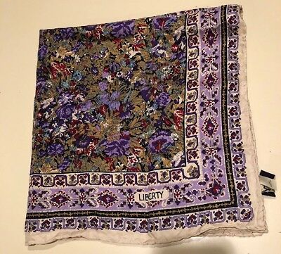 Vintage Liberty of London Silk Scarf Classic Floral Print Hand Rolled