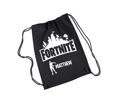 Fortnite Bag Drawstring Bag Black, Personalised Gift.
