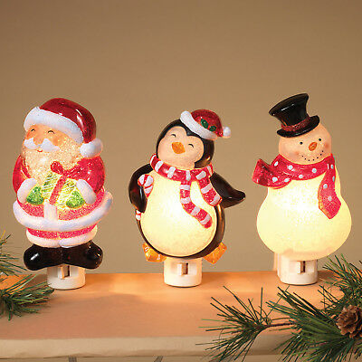 "3 Assorted 6"" Holiday Christmas Acrylic Night Light Set Snowman Santa Penguin"