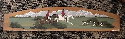 """Langelier Hand Crafted Designs Wall Plaque Hunter Horse Scene 23.75"""" x 5"""""""