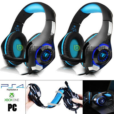 2x PS4 3.5mm Gaming Headset Headphone LED w/Mic Xbox One Mac PC iOS Android 2018