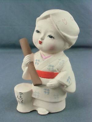 Japanese Clay Doll Vtg Kimono Girl Ceramic Ningyo Hand-painted Okimono CD60