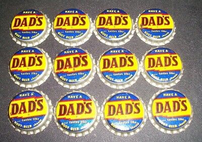 (12) Unused NOS 1950/60s Era Dad's Root Beer Cork Lined Soda Bottle Caps