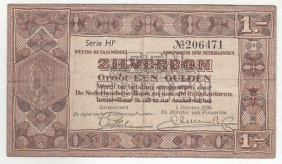 Netherlands 1938 Issue 1 Gulden Silver Notes In VF...