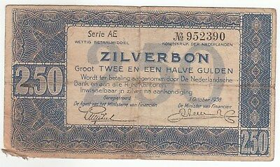 Netherlands 1938 Issue 21/2 Gulden Silver Notes In VG...