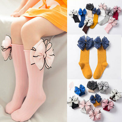 1 Pair Kids Socks Soft Cotton Baby Girls Socks Big Bow Frilly Knee High Socks`