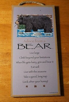 ADVICE FROM A BEAR SIGN Rustic Lodge Log Cabin Home Decor LOOK AFTER YOUR HONEY
