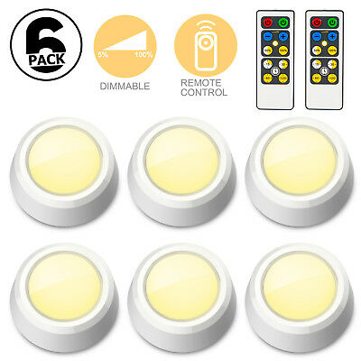 6 Pack LED Wireless Puck Lights with Remote Control Under Cabinet Night Lamp US