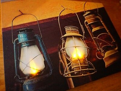 Barn Lanterns Country Lighted Flicker Flame Lights Cabin Lodge Home Decor Sign