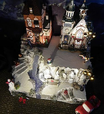 .Christmas WATERFALL CLIFF Snow Village Display platform base for Dept 56 Lemax