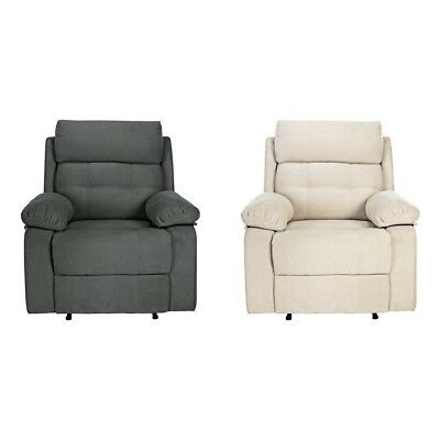 Argos Home June Fabric Manual Recliner Chair - Charcoal / Natural
