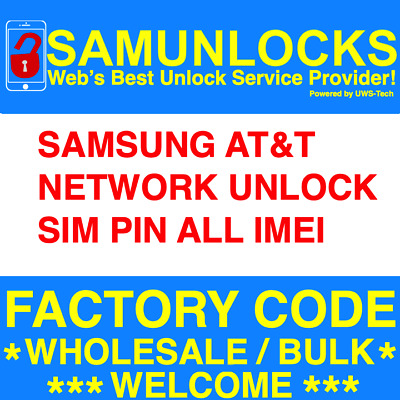 AT&T Samsung Network Unlock Code S9 S8 Note 8 A8 EXPRESS SIM PIN All IMEI
