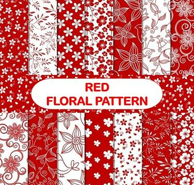 RED FLORAL PATTERN SCRAPBOOK PAPER - 14 x A4 pages