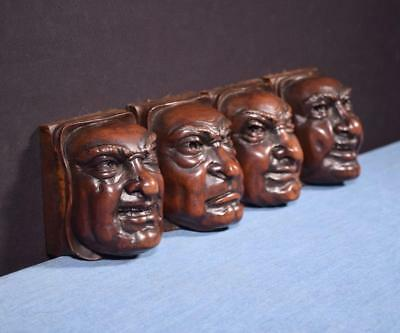 *Set of 4 French Antique Gothic Revival Highly Carved Faces in Walnut Wood Trim