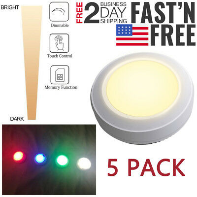 5 Pack LED Puck Lights Dimmable Color Changing Under Cabinet Night Lamp Wireless