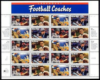 1997- FOOTBALL COACHES  #3143-6 Full Mint MNH Sheet of 20 Postage Stamps