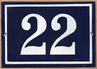 Large old blue French house number 22 door gate plate plaque enamel metal sign