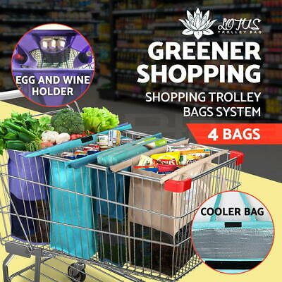 【20%OFF $19.9】 Shopping Trolley Bags Reusable Foldable Cooler Bag cart Set of 4