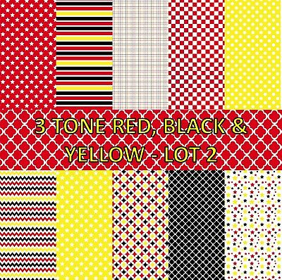 3 TONE RED, BLACK & YELLOW SCRAPBOOK PAPER - LOT 2 - 10 x A4 pages