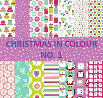 CHRISTMAS IN COLOUR 1 SCRAPBOOK PAPER - 14 x A4 pages
