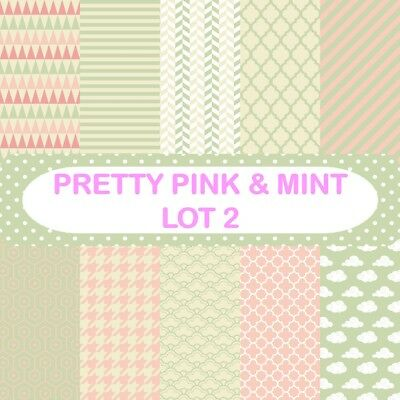 PRETTY PINK & MINT - LOT 2 SCRAPBOOK PAPER - 10 x A4 pages