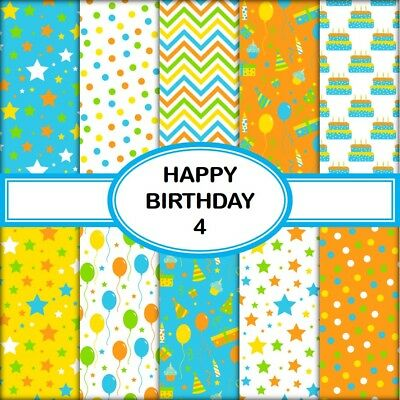 HAPPY BIRTHDAY 4 SCRAPBOOK PAPER - 10 x A4 pages