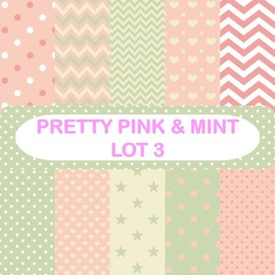 PRETTY PINK & MINT - LOT 3 SCRAPBOOK PAPER - 10 x A4 pages