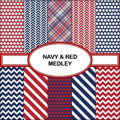NAVY & RED MEDLEY SCRAPBOOK PAPER - 10 x A4 pages