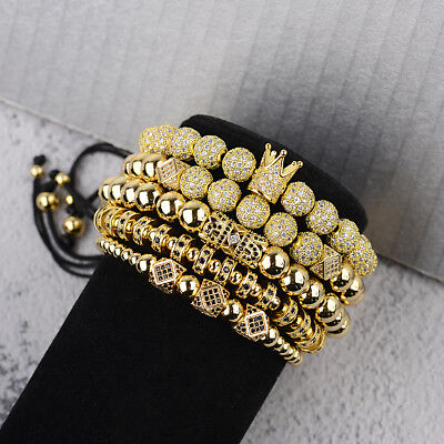 Luxury Men's Micro Pave CZ Ball Crown Braided Adjustable Handmade Bracelets Gift