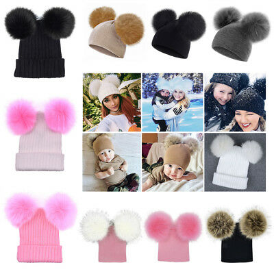 Winter Baby Boys Girls Women Warm Knitted Hat With Two Pompoms Beanie Caps