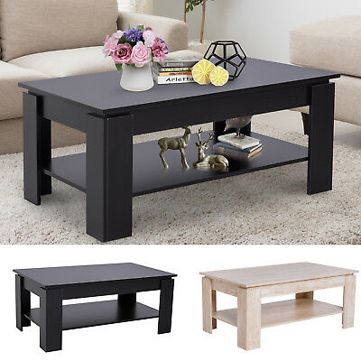 2-tier Side Coffee Table Living Room Rectangular Desk Storage Rack