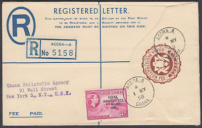 1958 Ghana Registered Stationery Envelope, Accra to New York (backstamp), USA