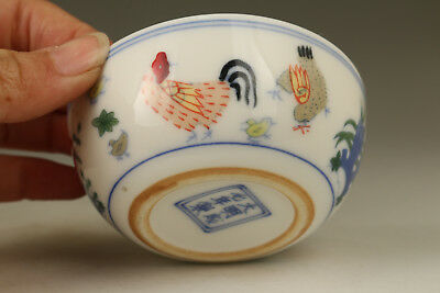 Old Porcelain Hand Painting Horse with chicken design Figure Tea Cup Bowl