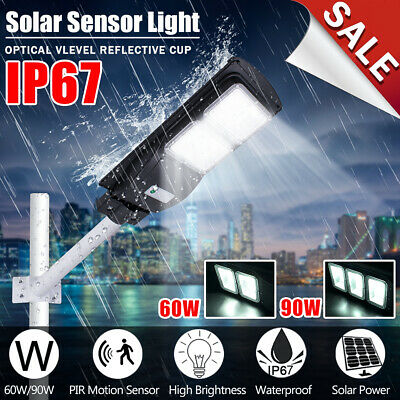 60/90W Solar LED Street Light Radar Induction PIRMotion Sensor Outdoor Wall Lamp