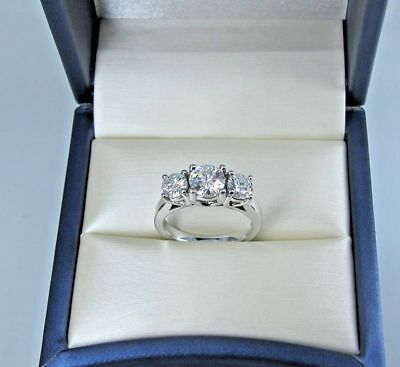 3 Stone 2Ct Round-Cut Moissanite Solitaire Engagement Ring 14K Real White Gold