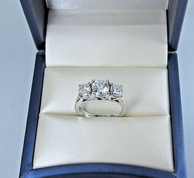 3 Stone 2Ct Round-Cut Moissanite Solitaire Engagement Ring 14K White Gold Fn