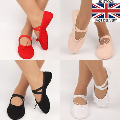 Ballet Shoes Pink Leather Full Suede Sole Elastic Dancing Prom Anti-slip Shoe UK