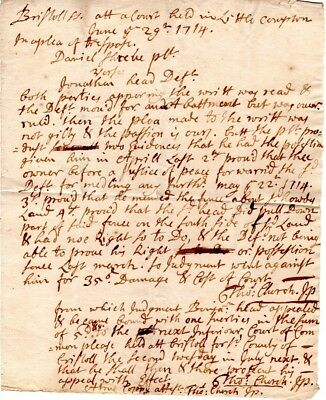 1714, Little Compton, R. Island, Thomas Church written and signed legal writ
