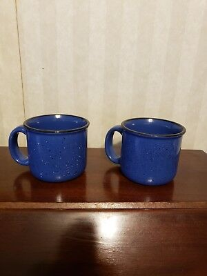 """Marlboro Unlimited LOT of 2 Blue Speckled Soup Chili Coffee MUG CUP BOWLS 4"""" LN"""
