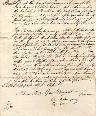 1793, Berkley, Mass; Negros Cuff Gilbert and Pero Baker, theft with force , arms