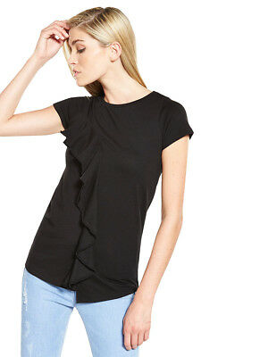 V by Very Asymmetric Frill Top In Black Size 8