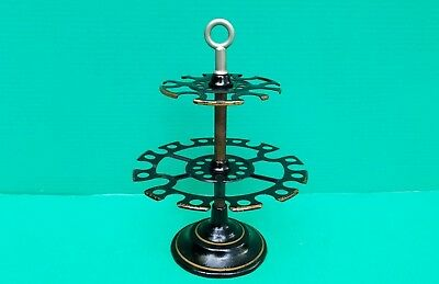 Antique Rubber Stamp Holder 1880s Desk Country Store Revolving Cast Iron 2 Tier