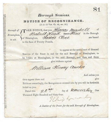 1864 Birmingham Courts Notice of Recognizance to T Minstrell of Balsall Heath Rd