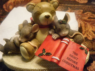 Charming Tails Fitz & Floyd NOT A CREATURE WAS STIRRING mice Christmas figurine