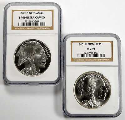 2001-P & D Buffalo Commemorative Silver Dollar Set - NGC MS 69 & PF 69 Ultra Cam
