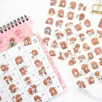 Couple Cartoon Lovers Journal Paper Diary Stickers Scrapbooking Ornament CB