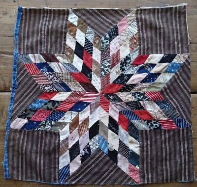 Antique Chocolate Brown Star Quilt Block Piece 15x15 Tiny Pieces