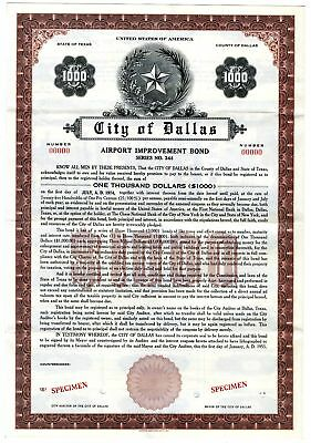 City of Dallas, 1955 Specimen Bond