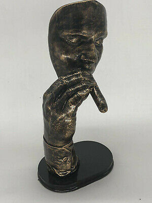 Art Deco handmade Sculpture smoking Cigar hand Cold Cast Bronze Copper Statue